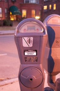 Old-style parking meters